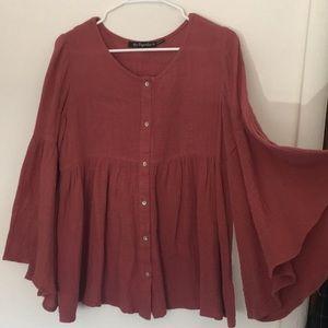 Flutter Sleeve Crimson Shirt